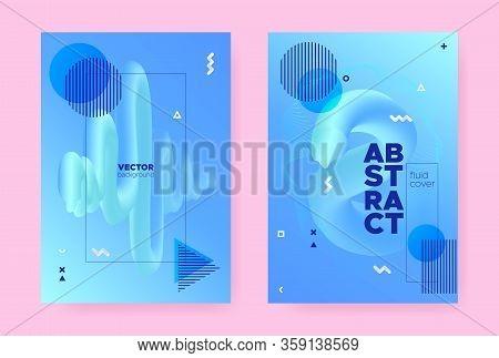 Pastel Abstract Memphis Gradient. Modern Fluid Shapes. Music Pattern. Trendy Geometric Magazine. Hip
