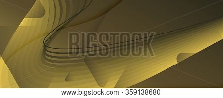 Abstract Vector Curve. Gold Dynamic Movement. 3d Fluid Lines. Digital Pattern. Golden Abstract Vecto