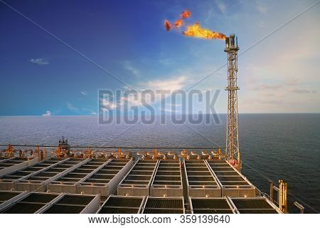 Offshore Oil And Gas Production Platform. The Construction Platform In Offshore Business. Petroleum