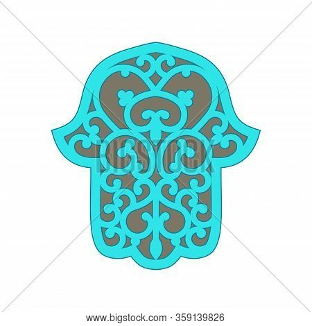 Color Vector Hamsa Hand Drawn Symbol. Decorative Pattern In Oriental Style. Hand Of Fatima - Amulet,