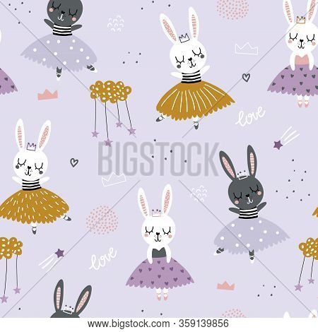 Childish Seamless Pattern With Cute Bunnies Ballerinas. Creative Vector Childish Background For Fabr