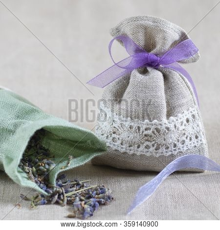 Small Linen Sack Filled With Dried Lavender Decorated With Lacework And Violet Ribbon Coqueand And O