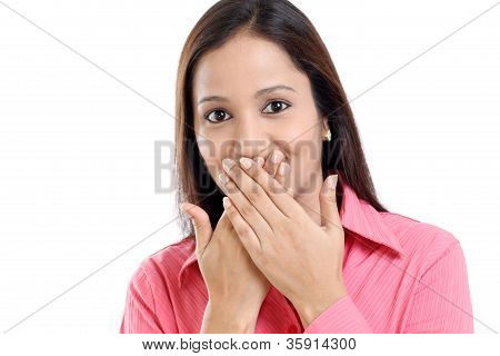Business Woman Covering Mouth