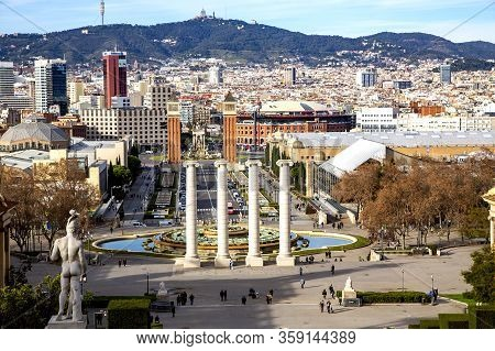 Spain, Barcelona, December, 2017 - Cityscape View Of Placa D`espanya Or Spain Square.spain Square Is