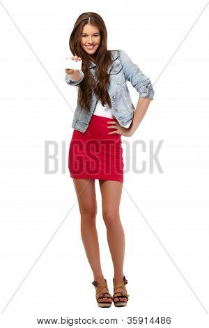 Nice Teenager Holding A Blank Card
