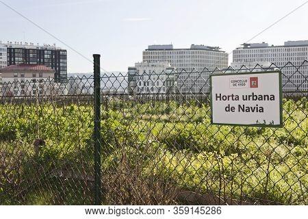 Vigo, Spain - Feb 19, 2020: Urban Orchard Of Navia Neighborhood Sign On February 19, 2020 In  Vigo C