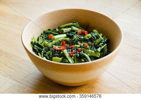 Sri Lankan Style Stir Fried Kangkung Dish In A Bowl