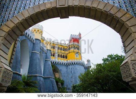Sintra, Portugal - June 14, 2017: Pena National Palace Or Palacio Da Pena. Pena Castle Is Unesco Her
