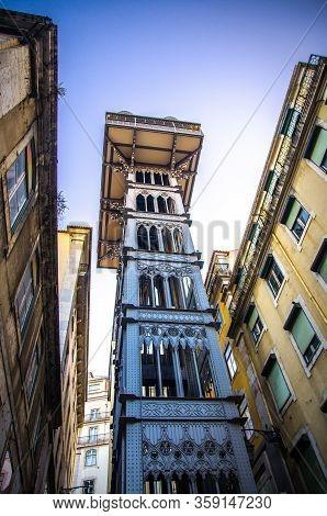 Lisbon, Portugal - June 14, 2017: Santa Justa Lift Elevador De Santa Justa In Lisboa