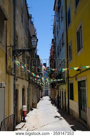 Lisbon, Portugal - June 15, 2017: Colorful Flags On Lisboa Street Rua Da Silva