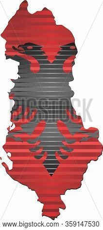 Shiny Grunge Map Of The Albania - Illustration,  Three Dimensional Map Of Albania