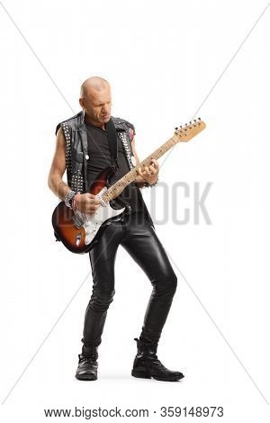 Full length portrait of a bald punk playing a guitar isolated on white background