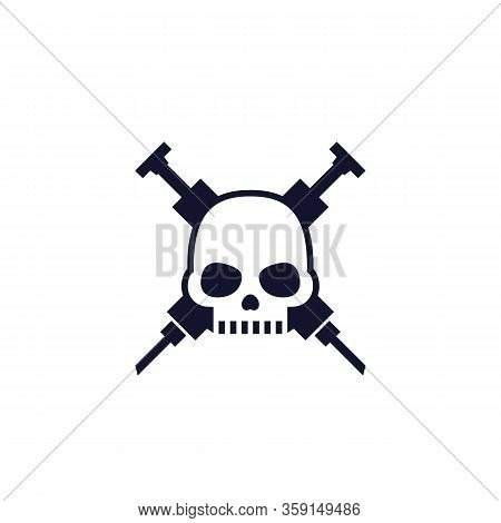 Overdose Icon With Skull, Eps 10 File, Easy To Edit