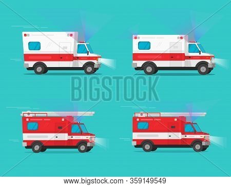 Ambulance And Firetruck Emergency Cars Or Fire Engine Truck And Medical Emergency Vehicle Automobile