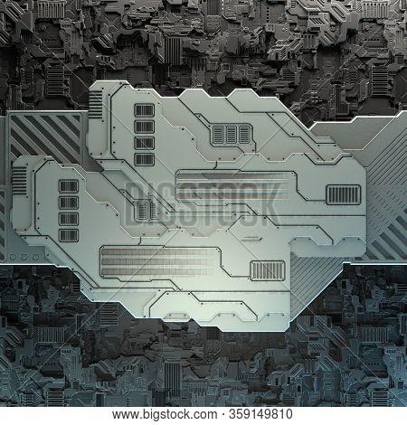 SciFi Panels. Futuristic texture. Spaceship hull geometric pattern. 3d illustration. Technology concept.