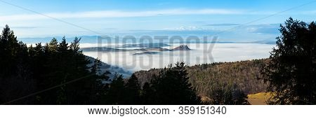 Panoramic View Over The Valley With Fog And Castle On The Hill In Autumn. Spisky Hrad, Slovakia