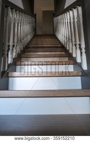 Beautiful Wooden Staircase In A Modern House