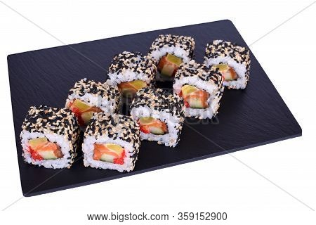 Traditional Fresh Japanese Sushi Rolls On A Black Stone Kyoto On A White Background. Roll Ingredient