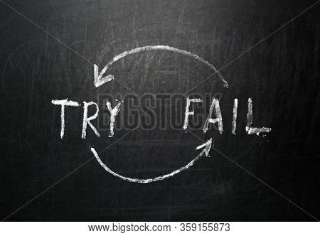 Try And Fail Iteration Handwritten On Black Chalkboard.