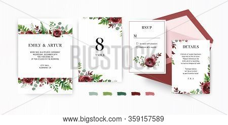 Wedding Invite, Invitation, Save The Date, Rsvp Stationery Set. Vector Floral Design Template. Water