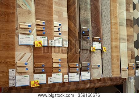 Minsk, Belarus - March 22, 2020: Sale Of Linoleum On The Floor And Baseboards Different Style, Size,