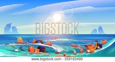 Pollution Sea By Plastic Trash, Garbage In Water. Vector Cartoon Landscape Of Pacific Ocean With Flo