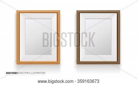 Realisti Wood Frame Isolated On White Background.different Colors. 3d. For Presentations, Photo And