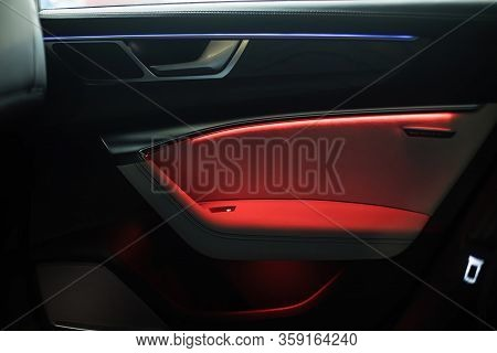Night Ambient Led Light Inside Of Car Interior. Door Card