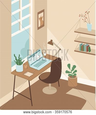 Cozy And Comfortable Working Cabinet Room.  Workplace With Laptop. Home Office Concept. Flat Vector