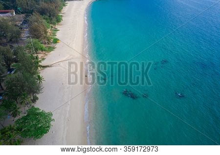 Aerial drone view of tropical empty Surin Beach in Phuket, Thailand
