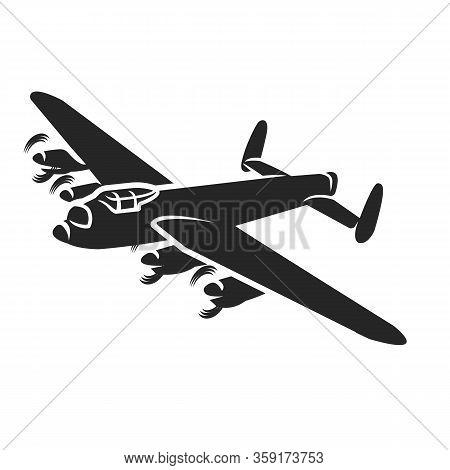 Vintage Bomber Vector Illustartion. Ww2 Heavy Military Aircraft.