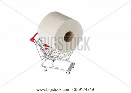 One Roll Of Consumer Toilet Paper In Miniature Shopping Cart Isolated On White Background.