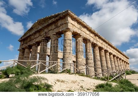 Ancient Doric Temple Of Segesta Which Is Under Reconstruction In Nice Sunny Spring Day And Strong Pe
