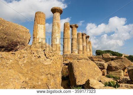 Temple Of Hercules (tempio Di Ercole) In Valley Of The Temples (valle Dei Templi) Near Agrigento, Si