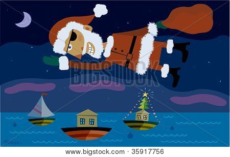 Saint Nick Flying Over Boats At Night