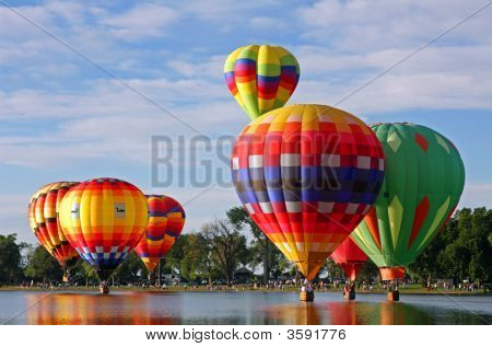 Hot Air Balloons And Lake