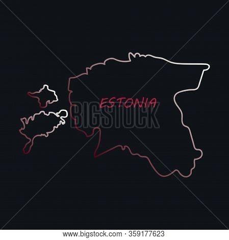 Vector Map Estonia. Isolated Vector Illustration. Black On White Background. Eps Illustration.