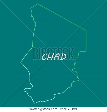 Detailed Illustration Of A Map Of Chad With Flag, Eps10 Vector