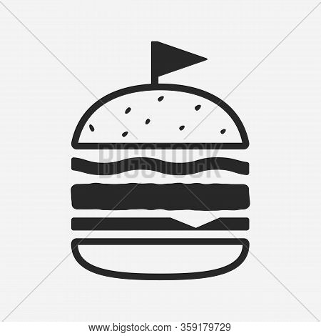 Modern Burger Icon Isolated On White Background. Simple Burger Icon. Burger Design Element For Resta