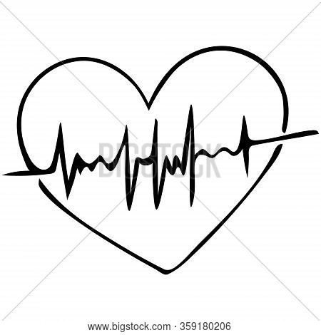 Heart with pulse. Sketch. Cardiology. Vector illustration. Outline on an isolated background. Doodle style. Examination of the patient. Assessment of arterial pulsation. A vital biological process. Health topic.