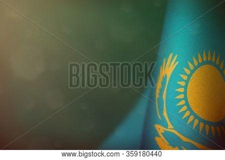 Kazakhstan Hanging Flag For Honour Of Veterans Day Or Memorial Day On Teal, Sea-green Dark Velvet Ba