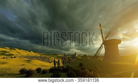 Lavender fields landscape at sunset 3d rendering
