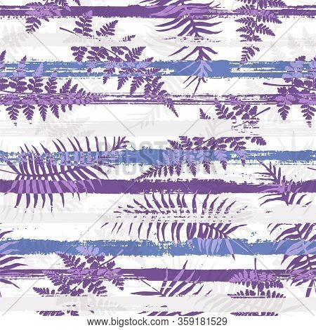 Tropical New Zealand Fern Frond And Bracken Grass Over Painted Stripes Seamless Pattern Design. Indo