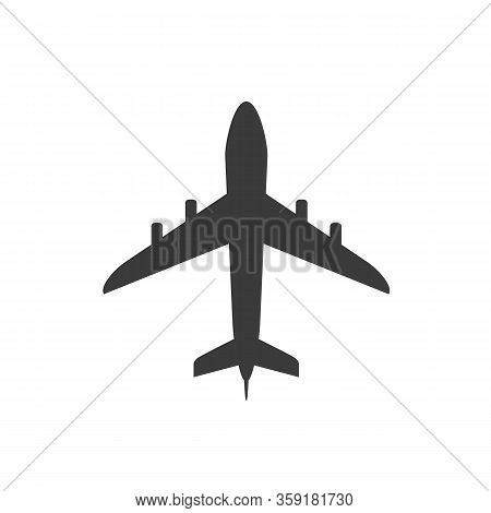 Airplane Icon. Airplane Silhouette Isolated On White Background. Simple Vector Flat Icon Of Airplane