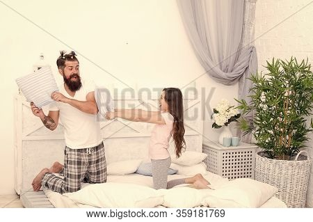 Time Flies When You Are Having Fun. Happy Family Have Fun Together. Little Child And Bearded Man Fig