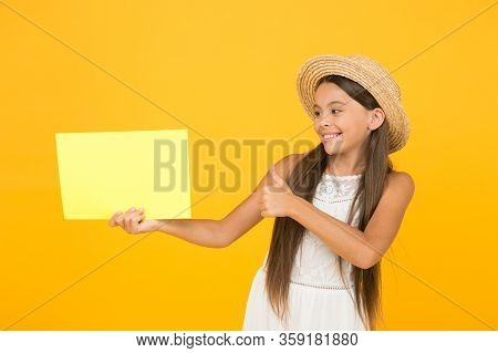 Promoting Services Or Goods. Teen Girl Summer Fashion. Little Beauty In Straw Hat. Summer Camp For K