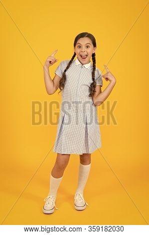 Cute Braids. Girl With Braided Hair Style. Hairdresser Salon. Tender Schoolgirl On Yellow Background