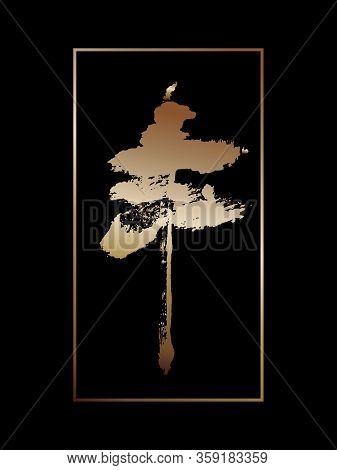 Stylized Image Of A Tree, Pine, Cedar In The Style Of Eastern Brush Painting.