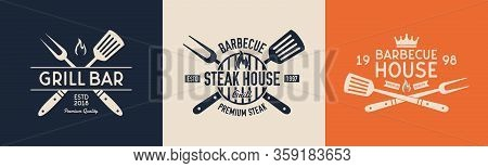 Steak House, Grill Bar, Barbecue House Vector Logo Templates. Vintage Logo, Label, Badge, Sticker De
