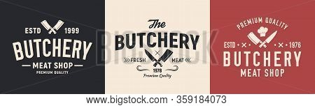 Meat, Butcher Logo. Logo For Butchery, Meat Shop With Knives. Typography Butchery, Meat Shop, Restau